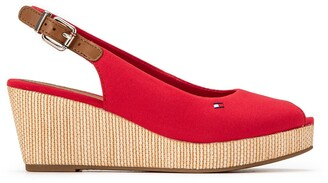 Tommy Hilfiger Iconic Elba Sling Sandals in Leather with Wedge Heel