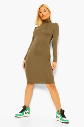 boohoo Petite High Neck Side Split Midi Dress