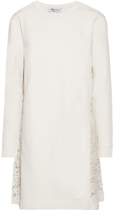 Valentino Corded Lace-paneled Ponte Mini Dress