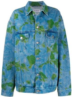 Balenciaga Abstract-Print Denim Jacket