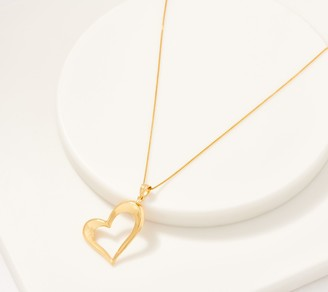 """Gold One 1KT Gold Polished Open Heart Pendant with 18"""" Chain"""