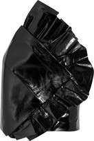 Saint Laurent Ruffled Glossed Textured-leather Mini Skirt - Black