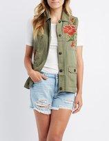 Charlotte Russe Floral Embroidered Utility Vest