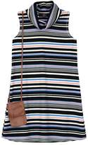IZ Amy Byer Girls 7-16 IZ Amy Byer Multi-Stripe Ribbed Knit Mockneck Dress with Fringe Crossbody Purse