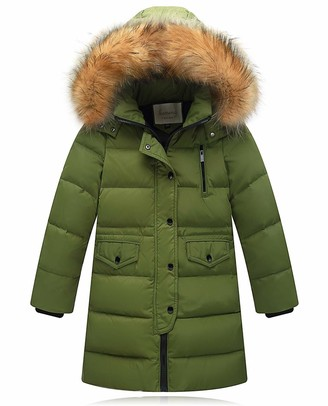 iDrawl Children Boys Winter Padded Down Coat School Mid-Long Thicken Warm Jacket with Detachable Faux Fur Hood Age 6 to 14