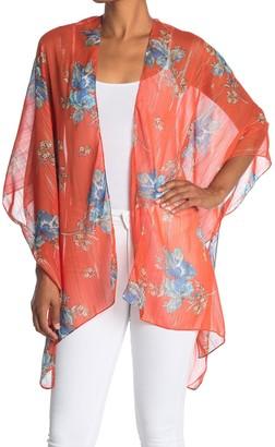 Vince Camuto Metallic Stripe Floral Kimono