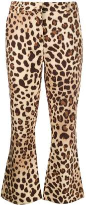 Blumarine Be Cropped Flared Leopard Print Trousers