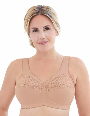 Glamorise Women's Plus Size Full Figure MagicLift Cotton Wirefree Support Bra #1001 Cafe 52H