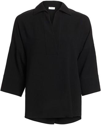 Akris Punto Kimono Collared Wool Blouse