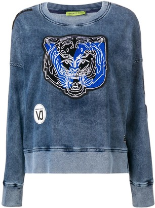Versace Jeans Couture Tiger Patch Applique Washed Sweatshirt
