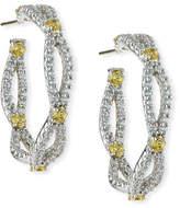 FANTASIA Open Weave Yellow & White CZ Hoop Earrings