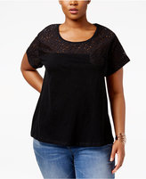 Style&Co. Style & Co Plus Size Lace-Yoke Top, Only at Macy's