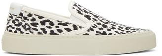 Saint Laurent Black and White Venice Slip-On Sneakers