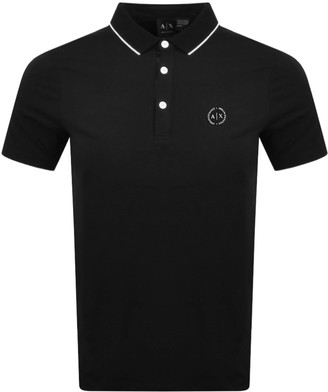 Armani Exchange Tipped Polo T Shirt Black
