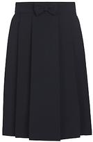 John Lewis Girls' Adjustable Waist Pleated School Skirt With Bow, Navy