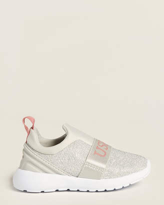 U.S. Polo Assn. Toddler Girls) Silver Charm Slip-On Sneakers