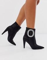 Asos Design DESIGN Eclectic diamante buckle boots