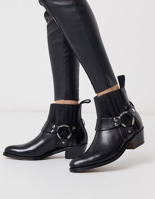 Grenson Marley black leather western mid heeled boots
