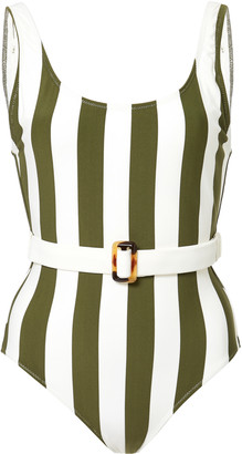 Solid & Striped The Anne Marie Belted Striped One-Piece Swimsuit