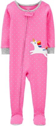 Carter's Baby Girl Unicorn Zip Footed Pajamas