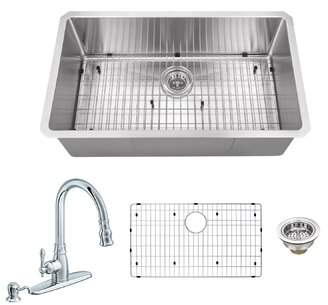 Soleil Radius 16 Gauge Stainless Steel 32'' x 19'' Single Bowl Undermount Kitchen Sink with Faucet and Soap Dispenser Soleil Faucet Finish: Polished Chrome