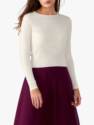 Pure Collection Cropped Cashmere Sweater, Soft White