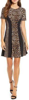 Michael Kors Cheetah Combo Fit & Flare Dress