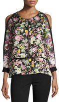 3.1 Phillip Lim Cold-Shoulder Meadow Flower Silk Blouse, Multicolor