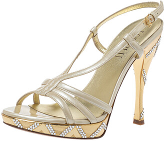 Loriblu Cream Patent Leather Crystal Embellished Ankle Strap Sandals Size 38