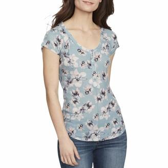 William Rast Womens Aqua Floral Short Sleeve Scoop Neck Top Size: S