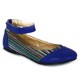 C Label Blue Stripe Lora Ankle Strap Flat