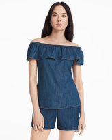 White House Black Market Cotton Denim Flounce Off-the-Shoulder Top