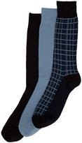 Cole Haan Men's Double Plaid 3-Pack Dress Socks, Black