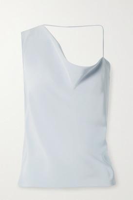 Cushnie Asymmetric Draped Silk Crepe De Chine Top - Light blue