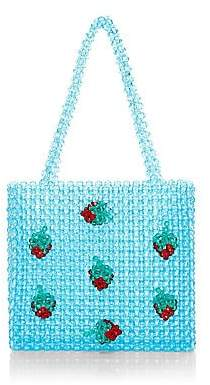 Susan Alexandra Women's Strawberry Appliqué Beaded Tote