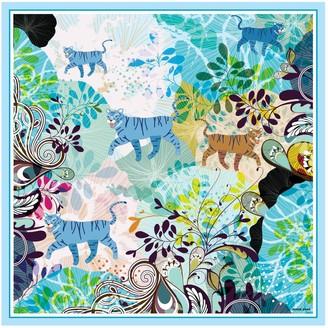 Jessie Zhao New York Silk Scarf Colorful Rainforest With Animals