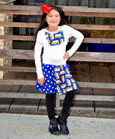 Beary Basics Blue School Bus Top & Patchwork Skirt Set - Infant Toddler & Girls