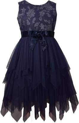 Bonnie Jean Girl's 7-16 Metallic Embroidery Mesh Dress