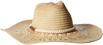 San Diego Hat Company Women's Pinched Crown Paperbraid Floppy Sun Hat with Faux Suede Trim