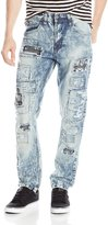 Southpole Men's Long Denim Pants with Printed Backing and Patches In Carrot Fit
