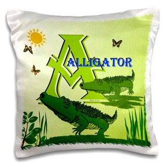 3dRose Decorative Animal Alphabet Art for children - A is for Alligators at the swamp - Pillow Case, 16 by 16-inch