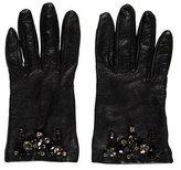 Prada Leather Jewel-Embellished Gloves