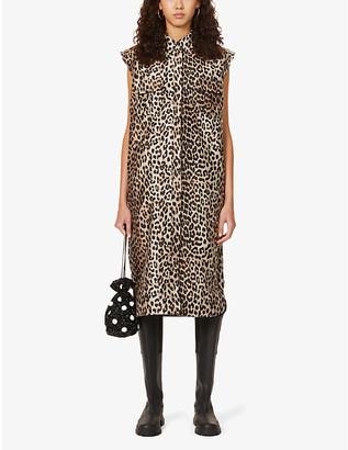 Ganni Leopard-print woven overcoat