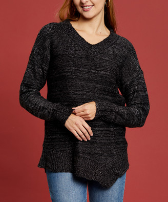 Melange Home Maglia Women's Pullover Sweaters CHARCOAL - Charcoal V-Neck Sweater - Women