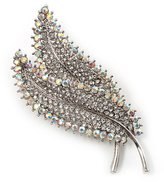 Avalaya Clear & AB Crystal Double Leaf Brooch ( Tone Metal)