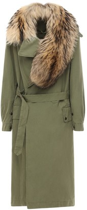 Mr & Mrs Italy Long Belted Trench Coat W/ Fur Collar