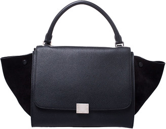 Celine Black Leather and Suede Small Trapeze Bag