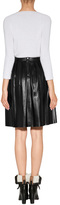 Burberry Leather Stitched Skirt in Black