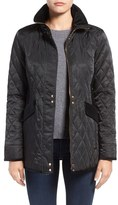 Vince Camuto Velvet Trim Quilted Riding Jacket