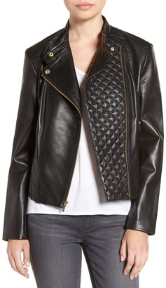 Cole Haan Asymmetrical Zip Front Leather Jacket